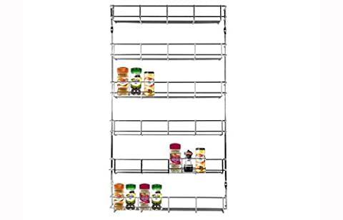 LIVIVO ® Chrome 6 Tier Spice Herb Jar Rack Holder For Home Kitchen Door Cupboard Storage or Wall Mountable