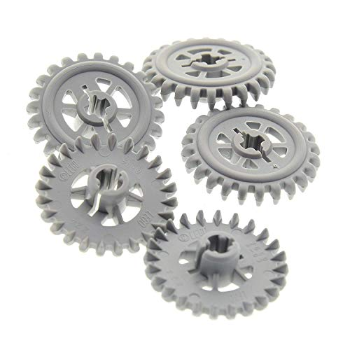 Bausteine gebraucht 5 x Lego Technic Zahnrad neu-hell grau 24 Zähne z24 Zahnräder Rad Technik (New Style) 6860 7659 10188 8292 7877 9470 3650b
