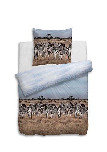 Heckett & Lane Bettwäsche Elon 135 x 200cm 80x80, Zebra Zebras Afrika Steppe, reine Baumwolle