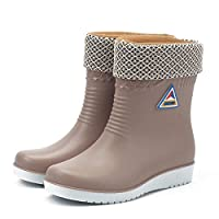 WSKMTX Rain Boots,Winter Warm Plus Velvet Water Shoes In The Tube Slip Rain Shoes Women Fashion Rain Boots Waterproof Wear Resistant Gray Rubber Shoes For Music Festival