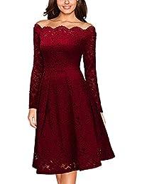 Miusol Damen Vintage 1950er Off Schulter Cocktailkleid Retro Spitzen Schwingen Pinup Rockabilly Kleid Rot/Navy Blau Gr.S-XXL