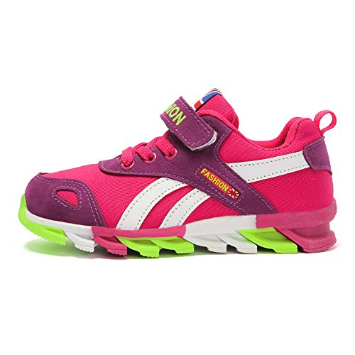 Powtech Turnschuhe Kinder Sneaker Jungen Sportschuhe Mädchen Hallenschuhe Outdoor Laufschuhe Für Unisex-Kinder (EU29=CN30, 856-Rosa)