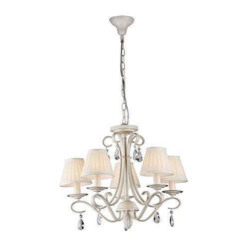 Moderner filigraner Kronleuchter, beiges Metall, klares Kristall, weiße Schirme aus Organza, 5-flammig, exkl.E14 5x 40W -