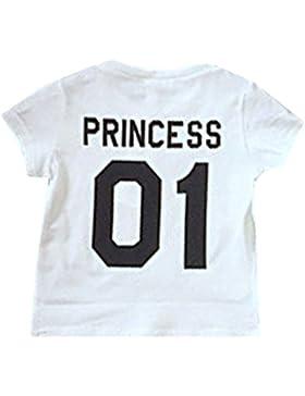 Hibote Mamá papá niños bebé Tshirt Familiar Camiseta Cómoda camisa de algodón 100% Rey Casual Blusas de cuello...