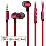 [Apple MFI Certificated] Earphone, GGMM® Cuckoo In-Ear Noise-isolating Headphones, Dual Drivers with Full Aluminum Housing, Flat Tangle-Free Double Colored Cables, Deep Heavy Bass, with Volume and Microphone Buttons Ear phone-Compatible with Apple iPhone, iPad&iPod-Wine Red