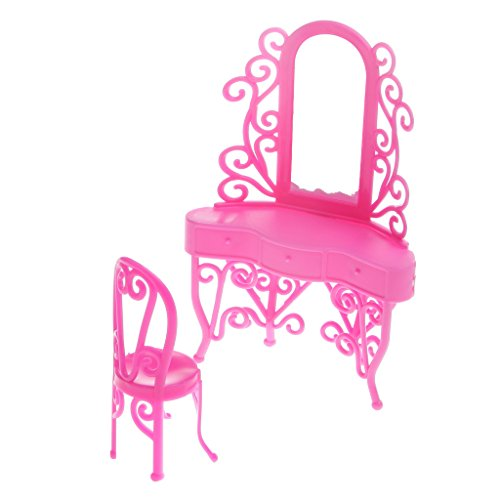 MagiDeal 2 Pezzi / Set Mini Decorazione Mobili per Barbie Bambole Camera Dresser Makeup Tavolo + Sedia in Miniature
