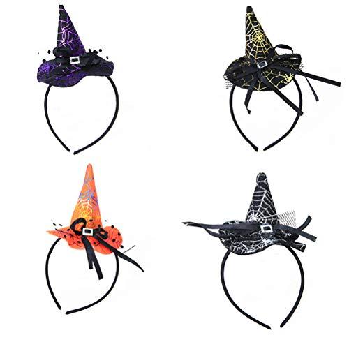 Frcolor cerchietti per capelli halloween cappelli da strega bambini 4 pezzi