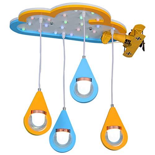 Hölzerner Kronleuchter Kreativer Wassertropfen Cloud Deckenablage Flugzeugdekoration LED * 4 Sprühfarbe weich Kinderzimmer 60 * 70 cm (Lüster,Leuchter) -