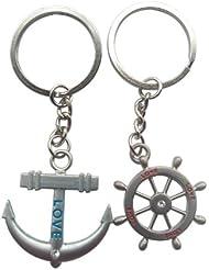 TOOGOO(R) Couple directeur nautique roue Ancrage Pendentif Chaine de cle porte-cles