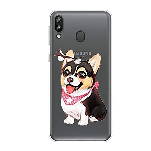 Uposao Kompatibel mit Samsung Galaxy M20 Hülle Crystal Case Schutzhülle Hülle mit Muster Motiv Transparent TPU Silikon Durchsichtig Stoßfest Handyhülle Backcover Tasche,Hund