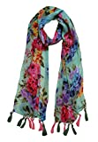 Letz Dezine TM Women's Printed Poly Cotton Multicolored Scarf and Stoles with Pearl Tassels - Set of 6 (LDS10111)