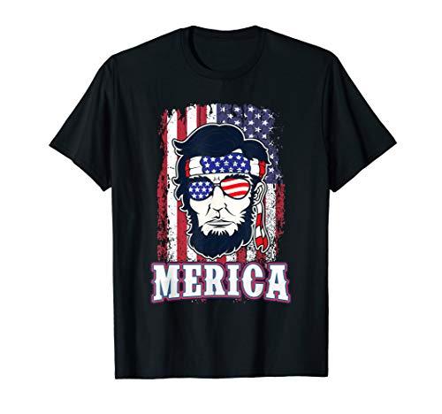 Merica Abraham Lincoln Shirt USA Abe 4th of July US Flagge T-Shirt