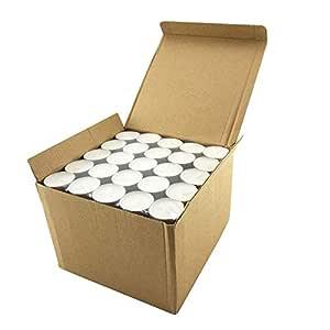 Coku White Tealight Smokeless Diya Unscented Candles - 100 Bulk Pack - 4 Hour Burn Time