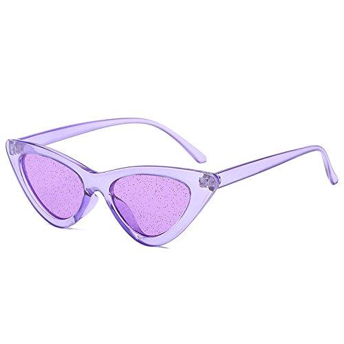 DXXHMJY Sonnenbrillen Retro Cat Eyes Sonnenbrillen Damen Glänzende Lila Rote Sonnenbrille Damen Vintage Uv400 Eyewear 7 Farben Personalisierte High-End-Sonnenbrille Lila