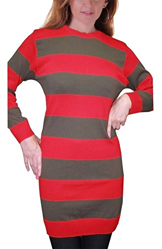 Ladies Freddy Krueger Red and Green Knitted Halloween Jumper Women's Dress Top. UK 8-22
