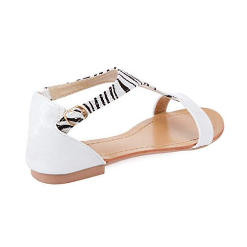 La Modeuse - Sandales vernis à bride zebrée Blanc