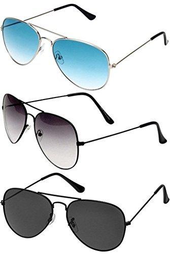 Sheomy Combo Set Of 3 UV Protected Aviator Unisex Sunglasses(Blackblack-Halfblack-Silverblue|55|Black-Halfblack-Silverblue)