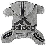 Scheppend Adidog Mascota Ropa para Perro Gato Sudaderas Con Capucha Sudaderas Suéter Caliente,Gris XXL