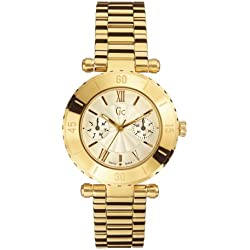 Guess Collection GC Diver Chic 27513L1 - Reloj analógico de caballero de cuarzo con correa de acero inoxidable dorada