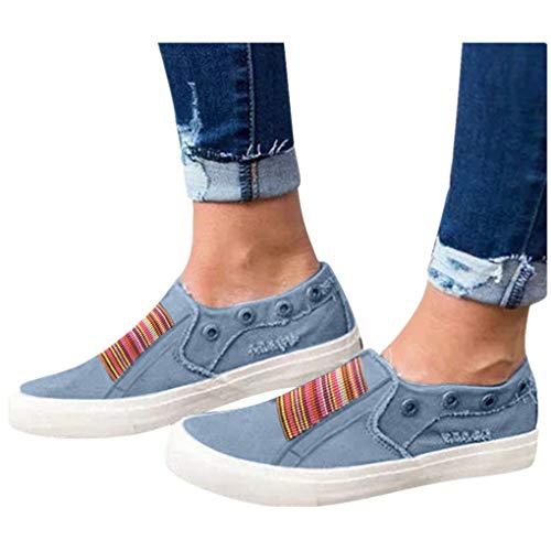 Low Übergrößen Sportschuhe für Damen/Dorical Frauen Slip on Canvas Sneakers, Casual Turnschuhe, Bequeme Outdoor Fitnessschuhe, Leichte Halbschuher Damenschuhe 35-43 EU Ausverkauf(Blau,40 EU)