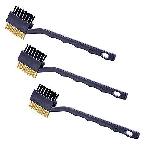 Shappy 3 Pièces Brosses à Double Face Brosses en Laiton et en Nylon pour le Nettoyage Soudage, Scories et Rouille