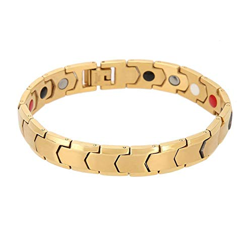 (Ting-Times Steel Magnetic Physiotherapy Bracelet, Designing for Mens Health Care Ornaments Gifts, Have 2Colors Can Choose (Gold) Physiotherapy)