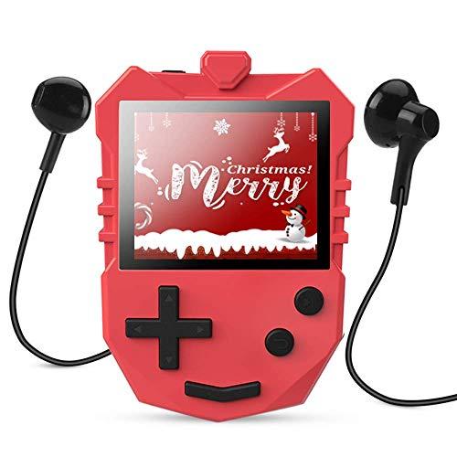 8 GB Kinder MP3 Player, tragbarer 1,8 TFT Farbbildschirm Musik-Player mit eingebautem Lautsprecher, FM-Radio, Sprachaufnahme, Puzzle-Spiele, unterstüzt bis zu 128 GB Speicherkarte, von AGPTEK K1, Rot
