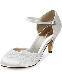 ElegantPark Ivory Women Closed Toe High Heel Appliques Ankle Strap Satin Wedding Bridal Court Shoes