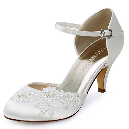 Elegantpark HC1604 Ivory Damen Geschlossene Zehen Stickerei Perlen Satin Brautschuhe EU 39
