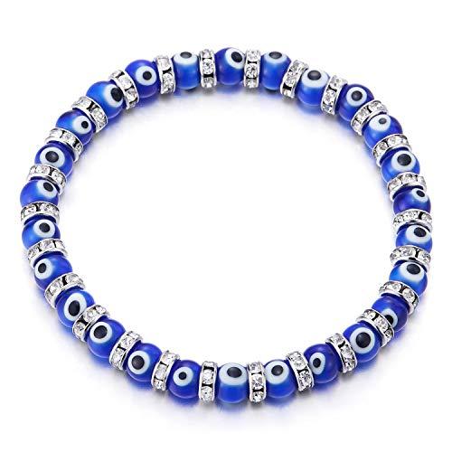 COOLSTEELANDBEYOND Damen Blau Murano-Stil Glas Mauvais Oeil Perlen Armband Bettelarmband mit Zirkonia Wulst Charme, Dehnbare