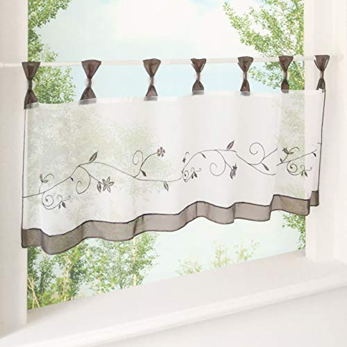 Ez glam tendina con ricamato tende in voile trasparente tenda, grau, h*b 45*120cm