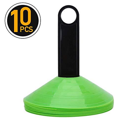 10er Set Markierungskegel Markierungshütchen für Fußball Sport Training Trainingskegel mit Tragegriff Kegel Set ( Farbe : Grün ) -