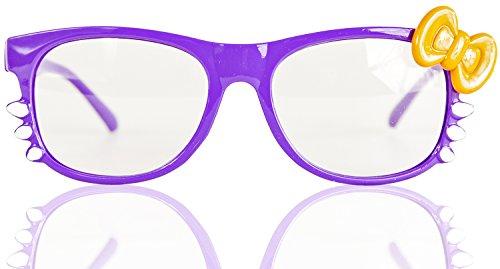 ne Seh-Stärke Damen Fenster-Glas Fasching Karneval Lila Orange Panto-brille Wayferer Horn-Brille Party-Brille (Nerd Halloween Kostüme Für Mädchen)