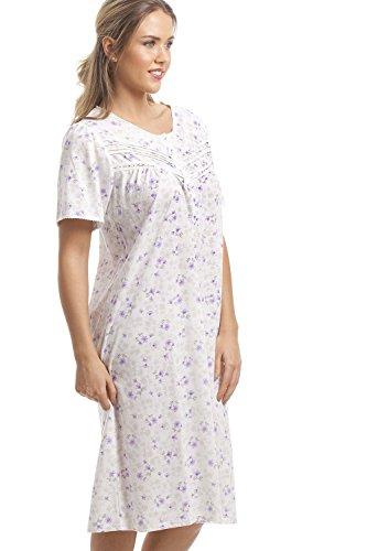Camille - Camicia da notte classica - mezze maniche con motivo floreale lilla - bianco Lilla