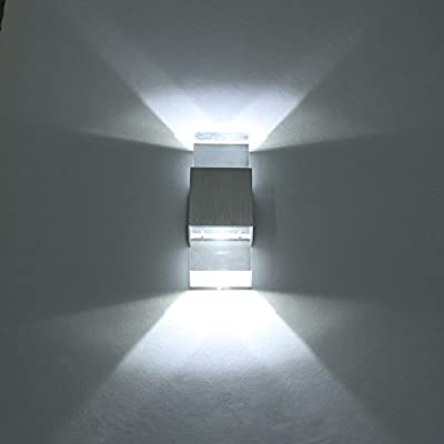 Amzdeal 6W Modern LED Wall Light Wall Lamp in Day White with Aluminum Base and Acrylic Housing