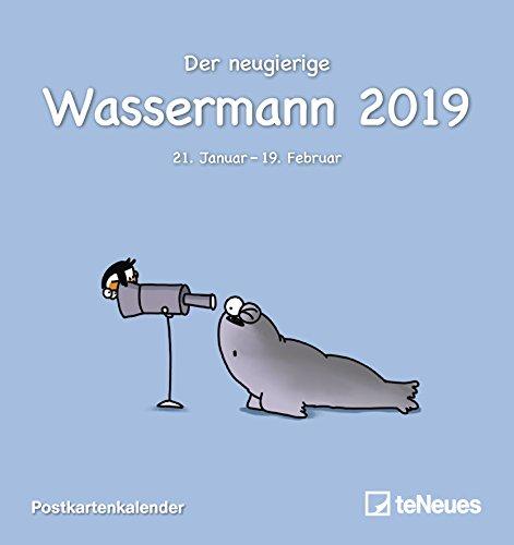 Sternzeichen Wassermann 2019 - Sternzeichenkalender, Horoskop, Postkartenkalender 2019 - 16 x 17 cm