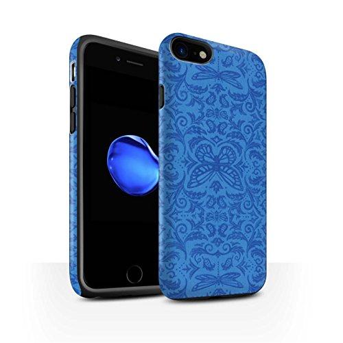 STUFF4 Matte Harten Stoßfest Hülle / Case für Apple iPhone 8 / Rot Muster / Insekten Muster Kollektion Blau