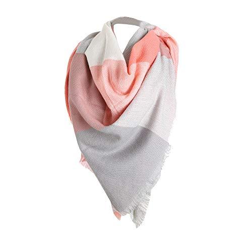 Tefamore Femmes Echarpe foulards longue de cou de châle de laine de cachemire de point coloré (140 * 140cm, Z-Rose)