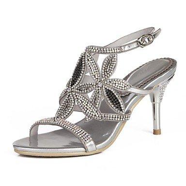 Sanmulyh Chaussures Femme Polyuréthane Printemps Été Mode Bottes Sandales Open Toe Strass Cristal Scintillant Boucle Glitter Pour Soirée Et Soirée Argent