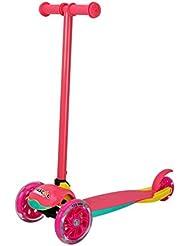 Patinete Plegable de 3 Ruedas con Luz Freno para niños entre 2 y 7 años, con de Poliuretano e incorporan led en el interior, color de rojo