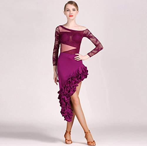 Z&X Latin-LUN Tanzkleid BA-Ba Tanz Ballett Kleid Mädchen Kleid Performance Anzug/Rock Kleid Kostüme Langarm Trikot Bekleidung/Hohe Qualität Milch Seide Lace,XXL