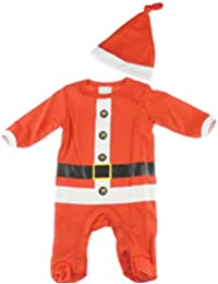 25230d1a2 Baby Girls Boys Soft Christmas Festive Romper All in One & Hat Gift Set Red  Santa 3-6…
