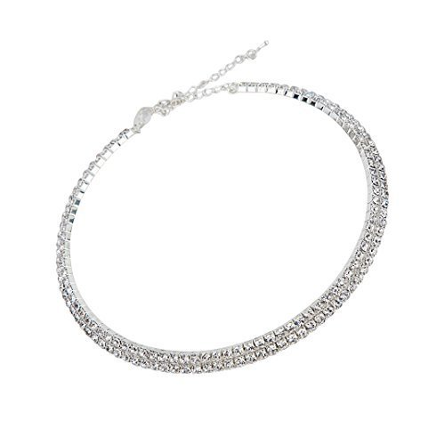 Next World Collections Crystal Diamante Rhinestone Necklace Silver Wedding Party Double Line Choker For Women