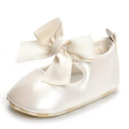ESTAMICO Baby Mädchen rutschfest Weiche Leder Bowknot Taufschuhe Kleinkind Sneaker, 6-12 Monate ( hersteller größe: 2 ),  Beige