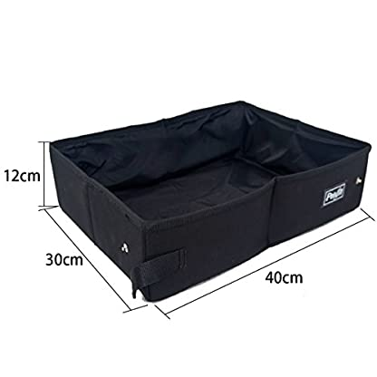 Petsfit Portable Foldable Cat Litter Box,Travel Lightweight Litter Boxes,Black 2