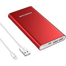 Apple Lightning Cargador Portátil Poweradd Pilot 4GS 12000mAh Cargador Portátil Batería Externa Power Bank Dual Puerto (3A Salida de Alta Velocidad) para iPhone, iPad, iPod, Samsung Galaxy y Más - Rojo (Lightning Cable Incluido)