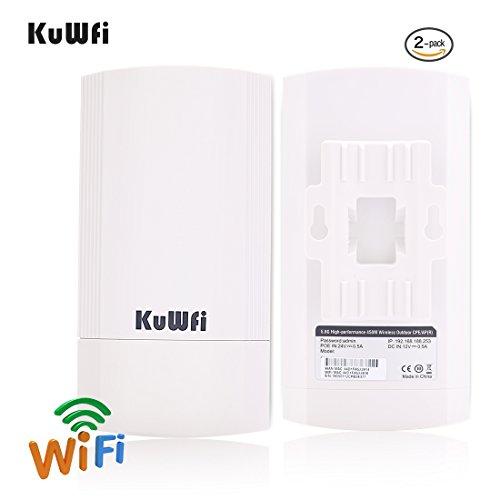 KuWFi 2-Pack 450Mbps Wireless Outdoor-CPE-Kit, Indoor & Outdoor Punkt-zu-Punkt Wireless Bridge/CPE Unterstützt 2KM Übertragungsentfernung Lösung für PTP, PTMP (Vorprogramm WDS) - 2pk Outdoor-wlan-kamera