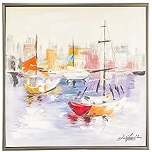 Cuadro al óleo sobre lienzo con marco - Barcos en el puerto - 84 x 84 cm