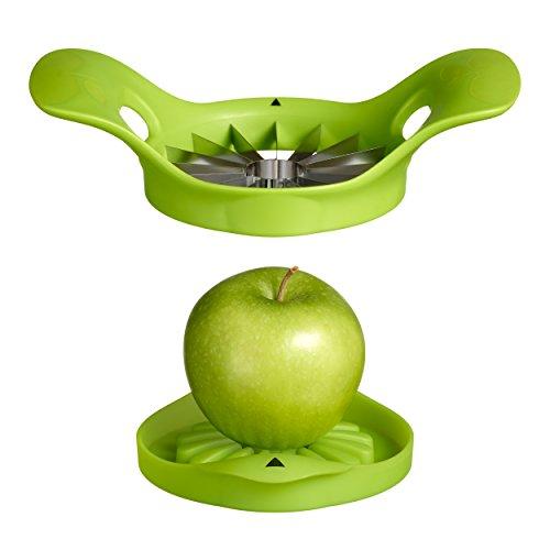 MOHA 25214 Apple 16 Coupe-Pommes avec Socle Plastique/INOX Vert 20 x 14,5 x 6 cm