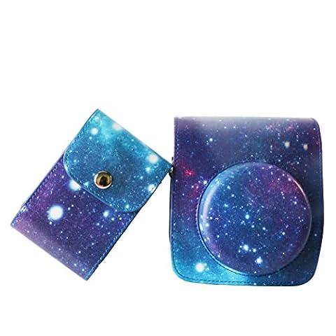 WOODMIN Galaxis Sternenklarer Himmel 2-in-1 Zubehör Bündeln Sets aus PU Leder für Fujifilm Instax Mini 90 Neo Classic Kamera (Kameratasche Tasche Schutzhülle / Film und Foto Tasche)